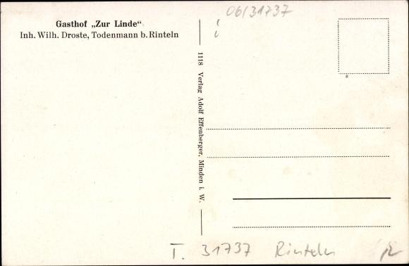 Todenmann bei Rinteln, Gasthof Zur Linde, Inhaber Wilhelm Droste