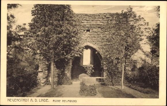 Neuenstadt an der Linde, Blick auf die Ruine Helmbund